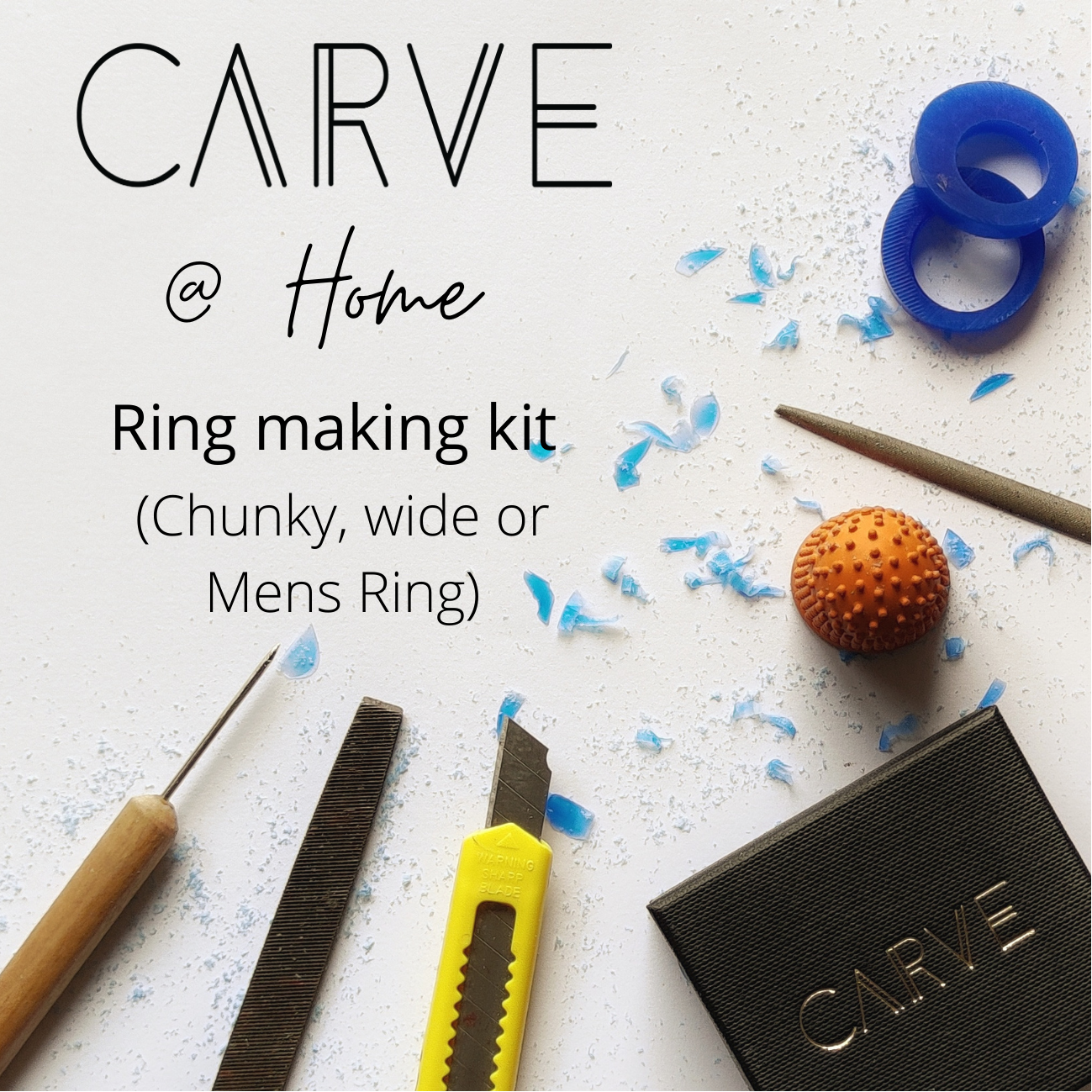 Carve @ Home ring carving kit - Chunky or Mens ring (Wider wax)